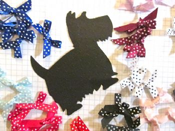 10 Die Cut Spotty Scotties + 10 satin or grosgrain Ribbon Bows